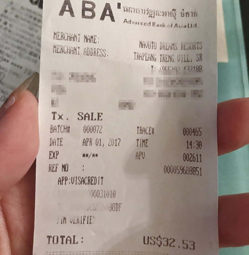 シェムリアップ ナブツドリームス スパの値段